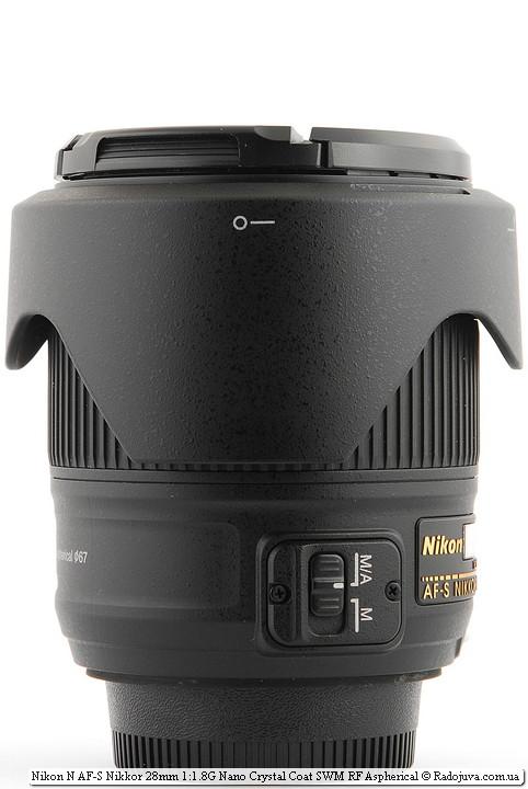 Nikon N AF-S Nikkor 28 mm 1.8 G Nano Crystal Coat SWM RF Aspherical with hood