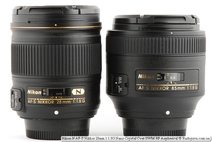 Размеры Nikon N AF-S Nikkor 28 mm 1.8 G Nano Crystal Coat SWM RF Aspherical и Nikon AF-S Nikkor 85mm 1:1.8G IF SWM