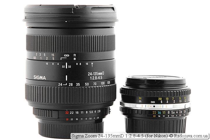 Sigma Zoom 24-135mmD 1:2.8-4.5 и Nikon Lens Series E 50mm 1:1.8 (MKII)