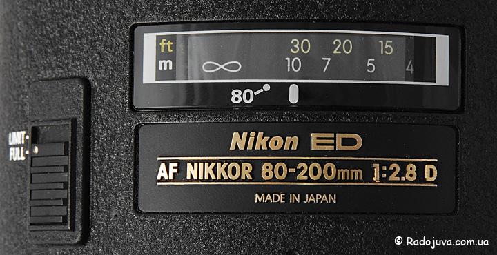 Шкала дистанции фокусировки объектива Nikon ED AF Nikkor 80-200mm 1:2.8D (MKII)