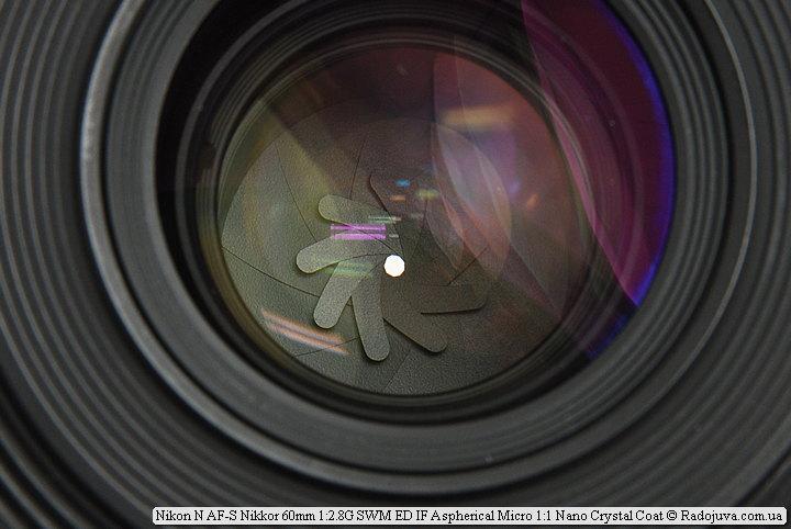 Лепестки диафрагмы Nikon N AF-S Nikkor 60mm 1:2.8G SWM ED IF Aspherical Micro 1:1 Nano Crystal Coat