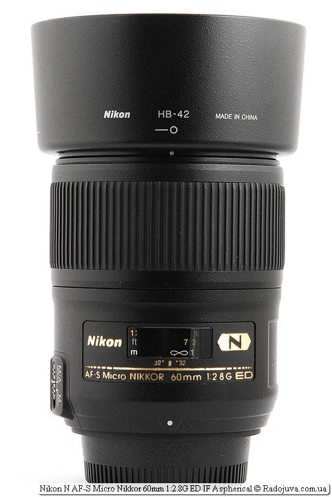 Бленда объектива Nikon N AF-S Nikkor 60mm 1:2.8G SWM ED IF Aspherical Micro 1:1 Nano Crystal Coat