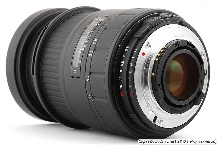 Sigma Zoom 28-70mm 1:2.8, вид сзади