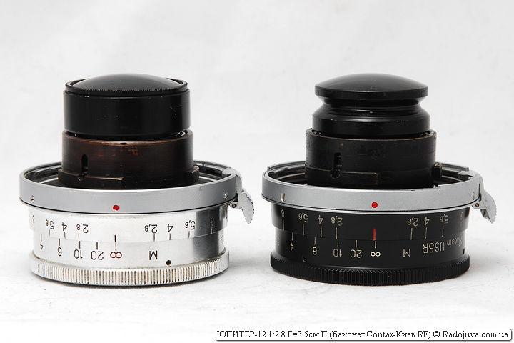 Две модификации объектива ЮПИТЕР-12 с байонетом Contax-Киев RF: ЮПИТЕР-12 1:2.8 F=3.5см П и JUPITER-12 2,8/35