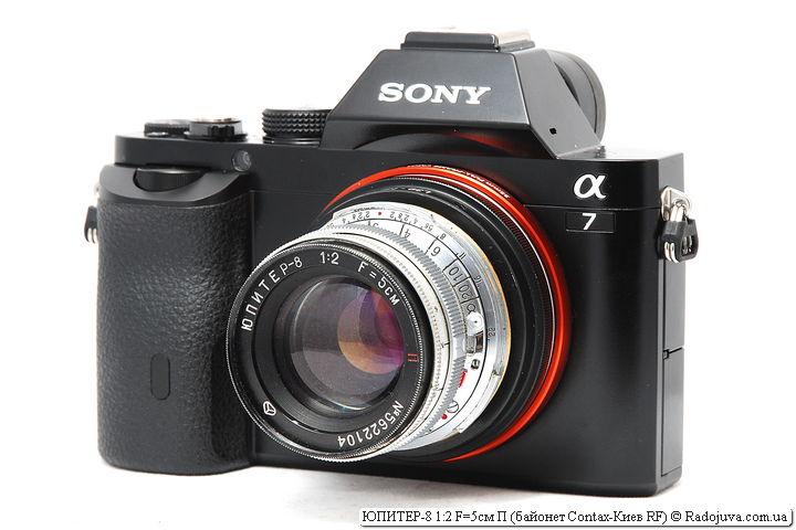 ЮПИТЕР-8 1:2 F=5см П с байонетом Contax-Киев RF на камере Sony A7
