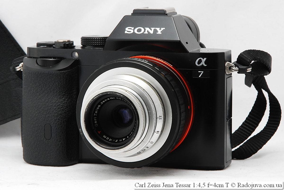 Carl Zeiss Jena Tessar 1:4,5 f=4cm T на камере Sony a7