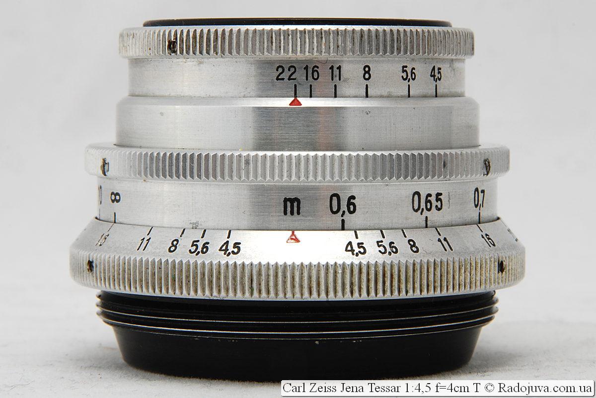 Carl Zeiss Jena Tessar 1:4,5 f=4cm T при фокусировке на МДФ