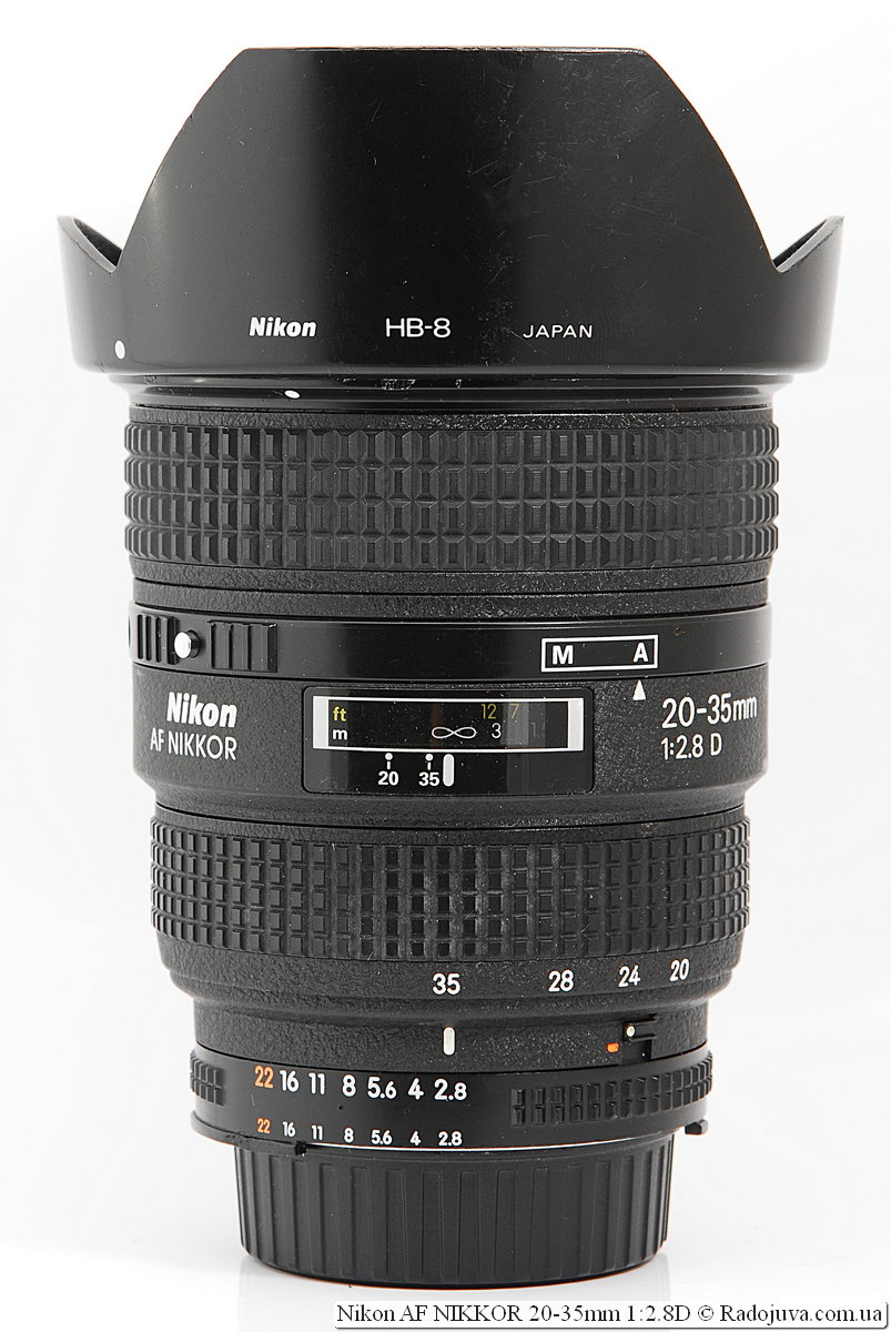 Nikon AF NIKKOR 20-35mm 1:2.8D с оригинальной блендой Nikon HB-8
