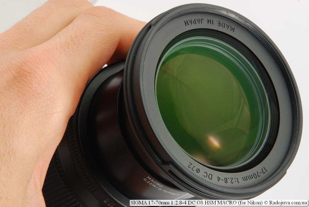 Просветление передней линзы SIGMA C 17-70mm 1:2.8-4 DC OS HSM MACRO