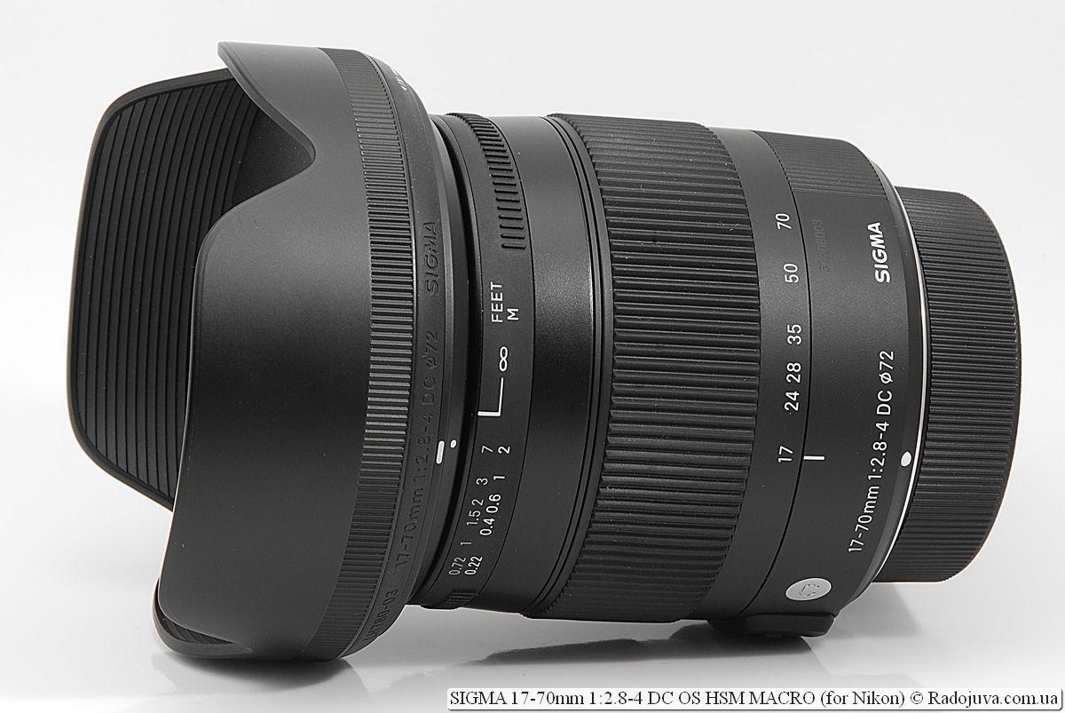 SIGMA C 17-70mm 1:2.8-4 DC OS HSM MACRO (for Nikon) с крышками и блендой