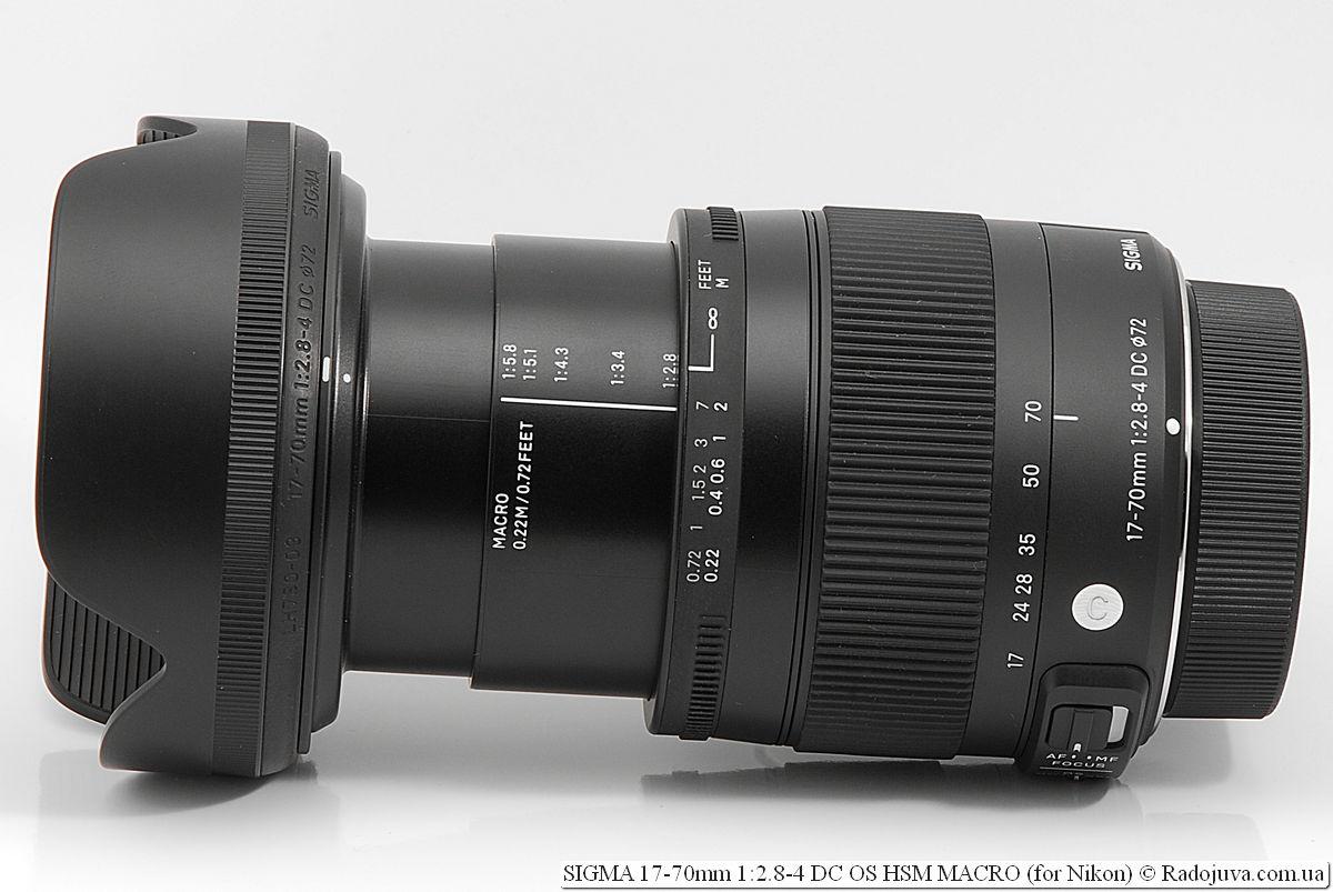 Максисмальна длина объектива SIGMA C 17-70mm 1:2.8-4 DC OS HSM MACRO (для Nikon)