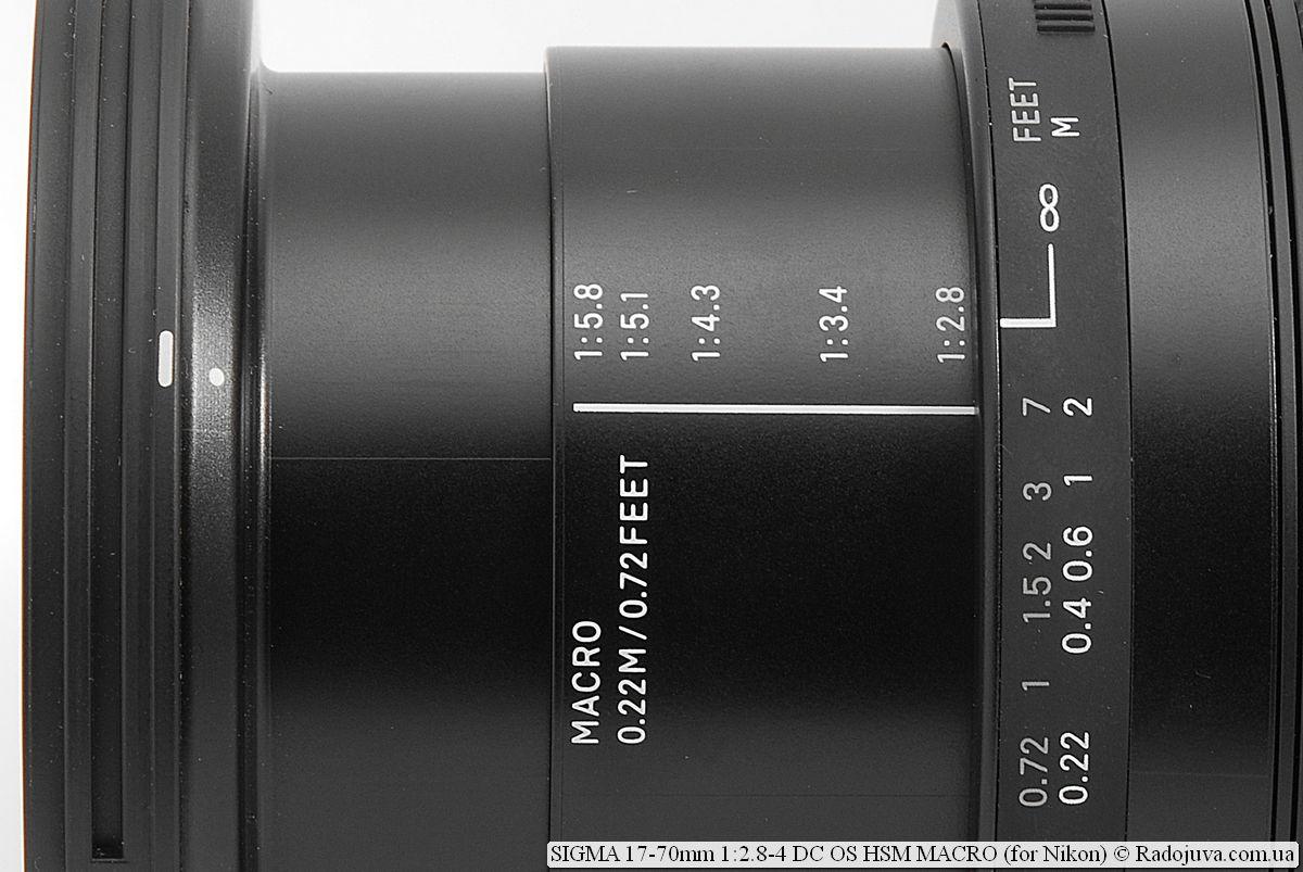 Кратность увеличения SIGMA C 17-70mm 1:2.8-4 DC OS HSM MACRO