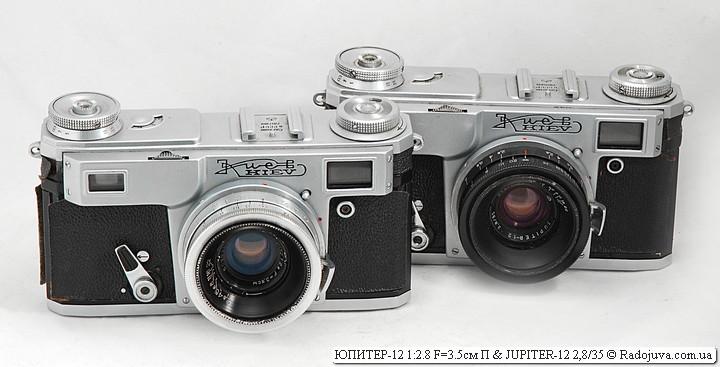 Две модификации объектива ЮПИТЕР-12 с байонетом Contax-Киев RF: ЮПИТЕР-12 1:2.8 F=3.5см П и JUPITER-12 2,8/35 на камерах Киев-4М