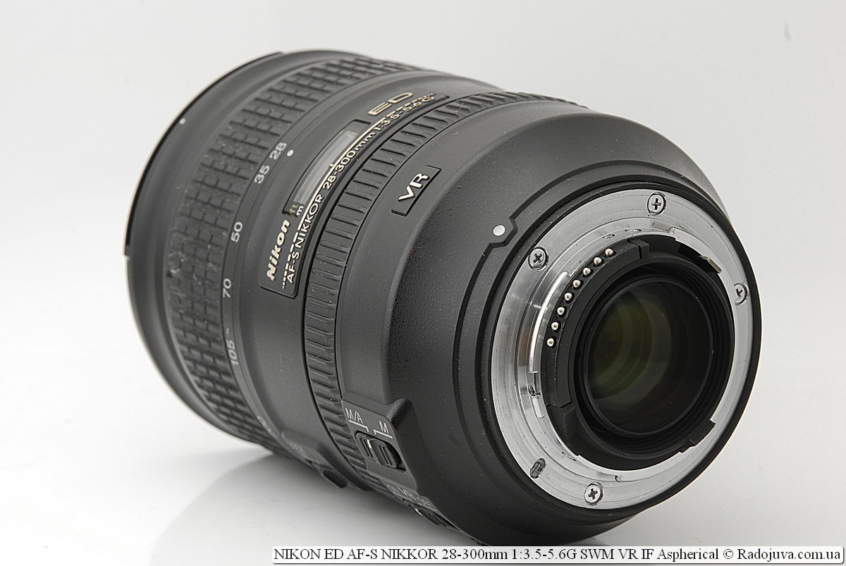 Nikon ED AF-S NIKKOR 28-300mm 1:3.5-5.6G SWM VR IF Aspherical, вид со стороны байонета