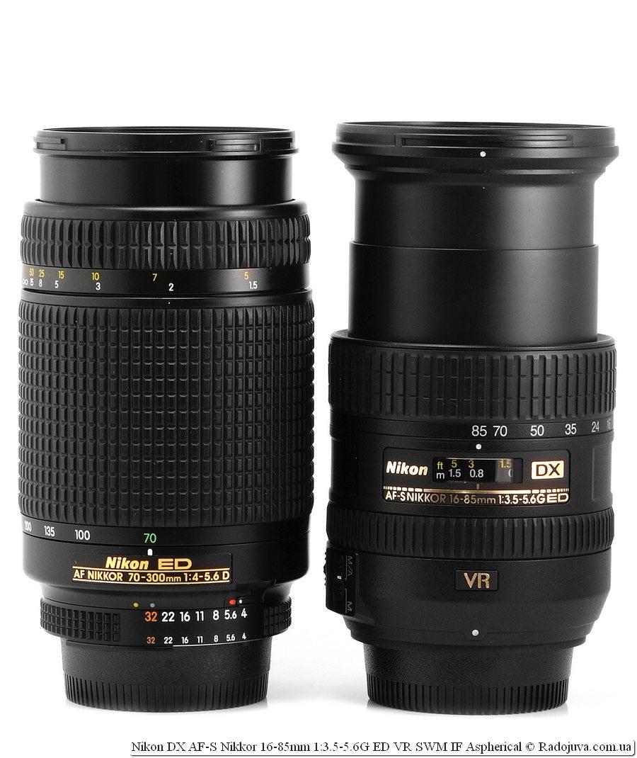 Размеры Nikon ED AF Nikkor 70-300mm 1:4-5.6Dи Nikon DX AF-S Nikkor 16-85mm 1:3.5-5.6G ED VR SWM IF Aspherical