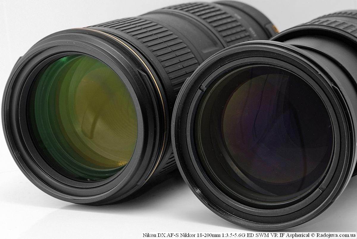 Просветление линз объективов Nikon N AF-S Nikkor 70-200mm 1:4G ED SWM VR IF Nano Crystal Coat и Nikon DX AF-S Nikkor 18-200mm 1:3.5-5.6G ED SWM VR IF Aspherical