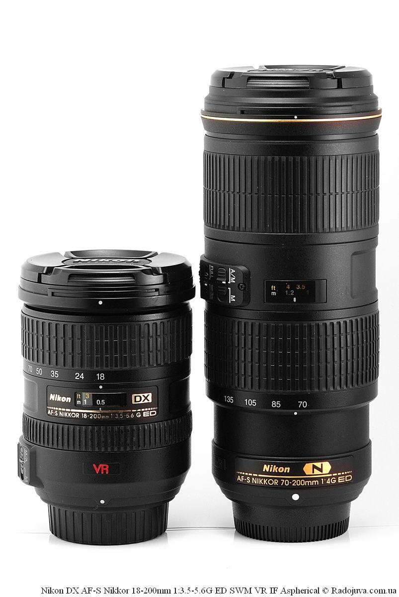 Размеры Nikon DX AF-S Nikkor 18-200mm 1:3.5-5.6G ED SWM VR IF Aspherical и Nikon N AF-S Nikkor 70-200mm 1:4G ED SWM VR IF Nano Crystal Coat