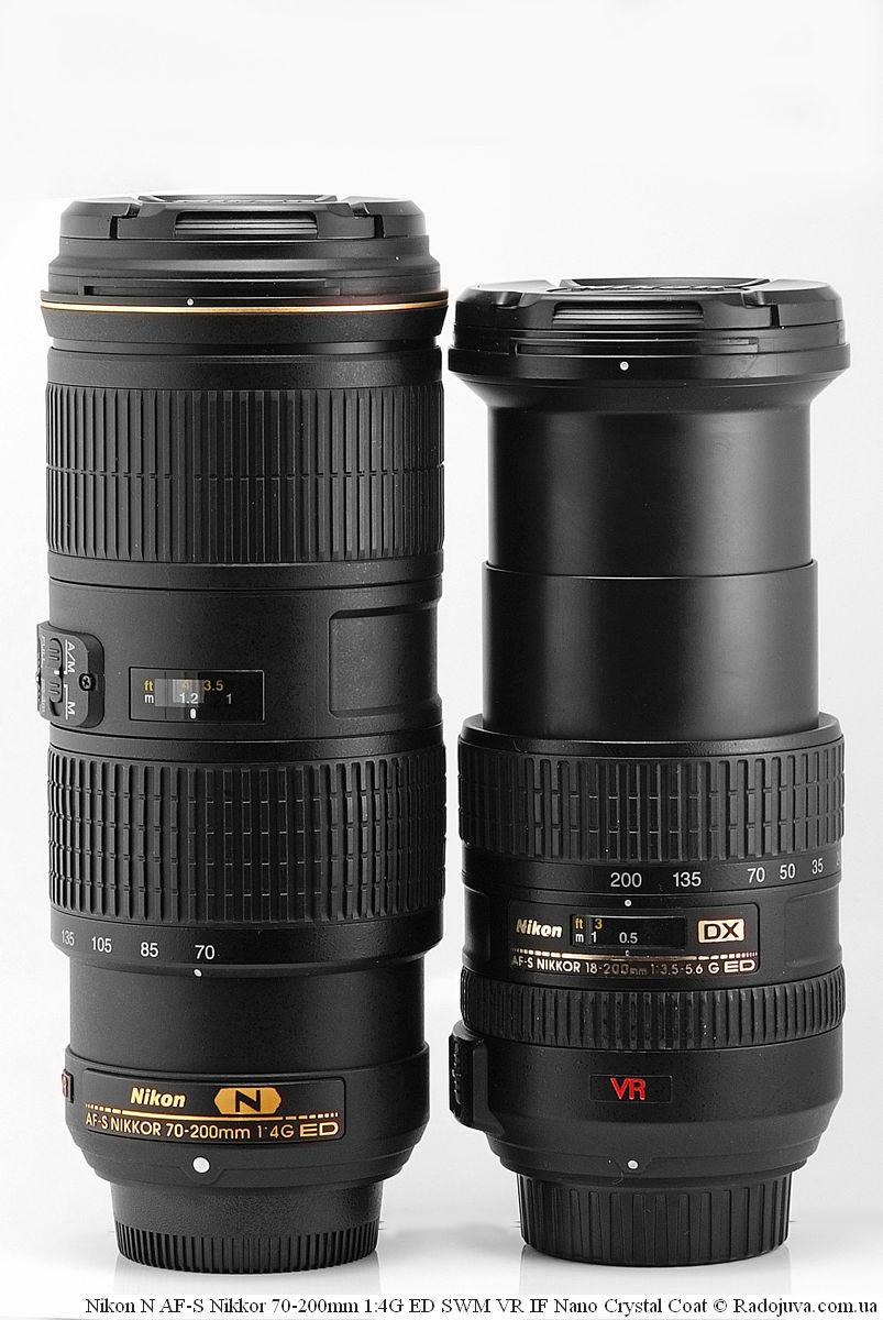 Размеры Nikon N AF-S Nikkor 70-200mm 1:4G ED SWM VR IF Nano Crystal Coat и Nikon DX AF-S Nikkor 18-200mm 1:3.5-5.6G ED SWM VR IF Aspherical