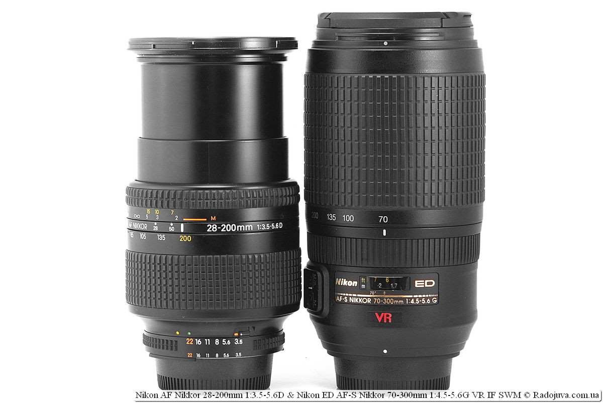 Sizes of Nikon AF Nikkor 28-200mm 1: 3.5-5.6D and Nikon ED AF-S Nikkor 70-300mm 1: 4.5-5.6G VR IF SWM