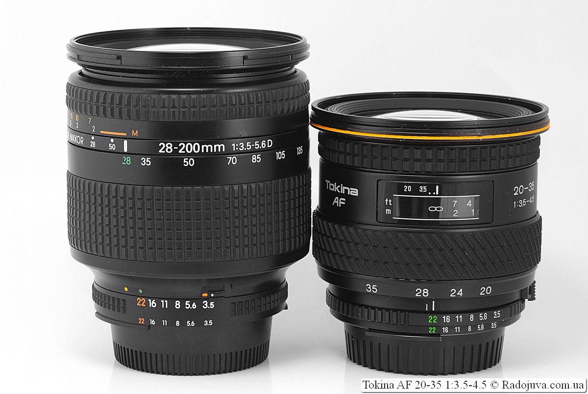 Nikon AF Nikkor 28-200mm 1:3.5-5.6D и Tokina AF 20-35 1:3.5-4.5