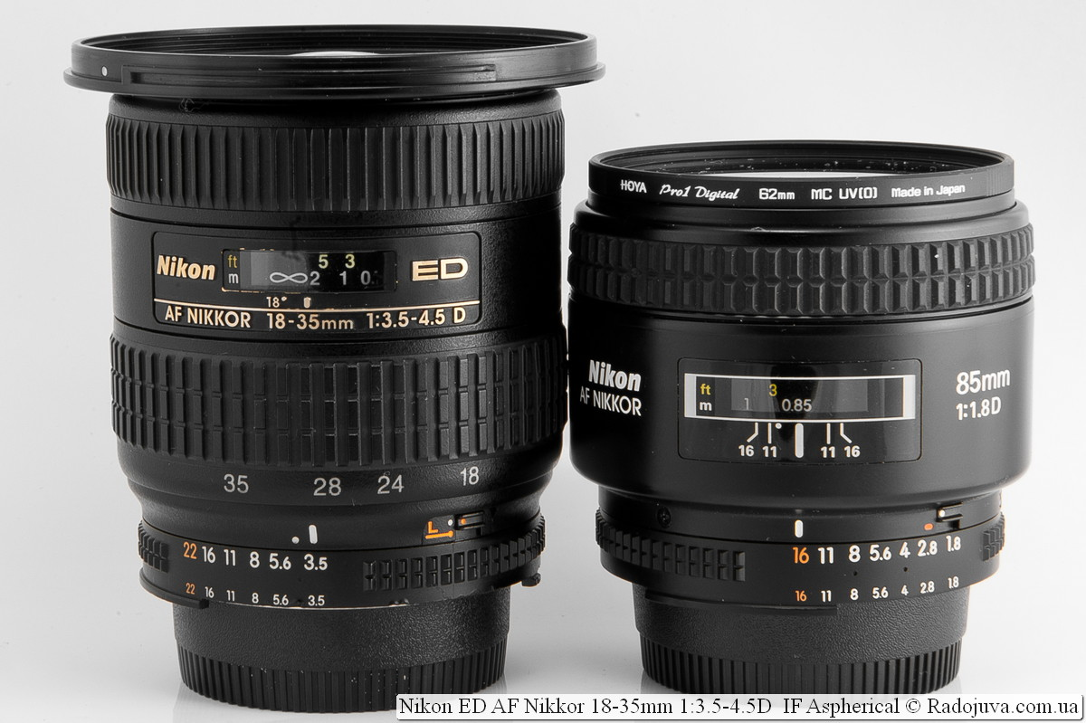 Nikon AF 18-35 mm f/3.5-4.5D IF ED и Nikon AF Nikkor 85mm 1:1.8D