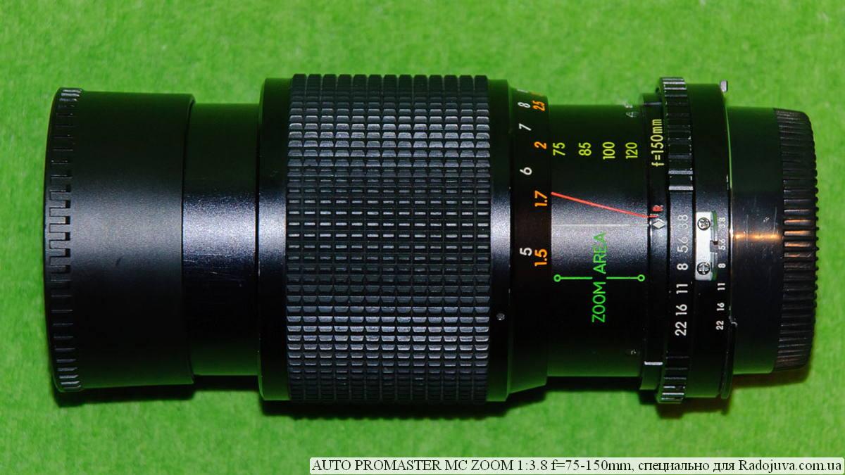 Бленда выдвинута, фокусное расстояние 75 мм