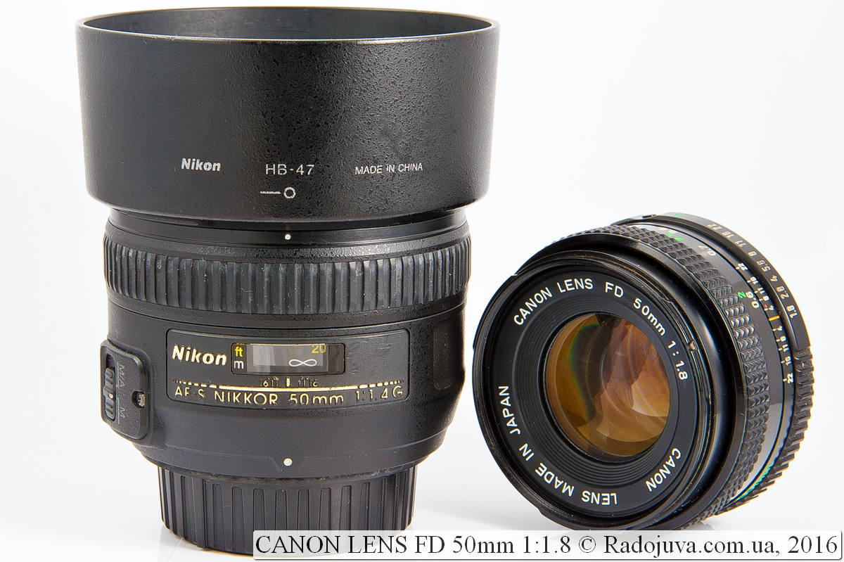 Nikon AF-S Nikkor 50mm 1:1.4G SWM и Canon Lens FD 50mm 1:1.8