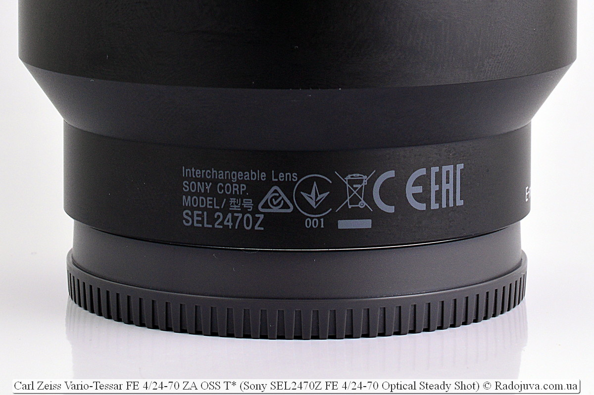 Carl Zeiss Vario-Tessar FE 4/24-70 ZA OSS T* (Sony SEL2470Z FE 4/24-70 Optical Steady Shot)