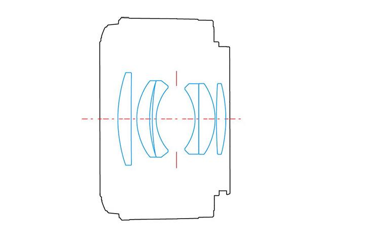 Оптическая схема YONGNUO LENS EF 50mm 1:1.8