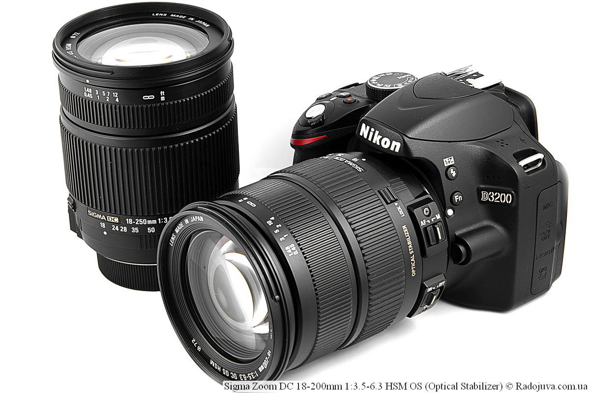 Sigma 18-200mm f/3.5-6.3 на камере Nikon D3200, рядом находится Sigma 18-250mm f/3.5-6.3