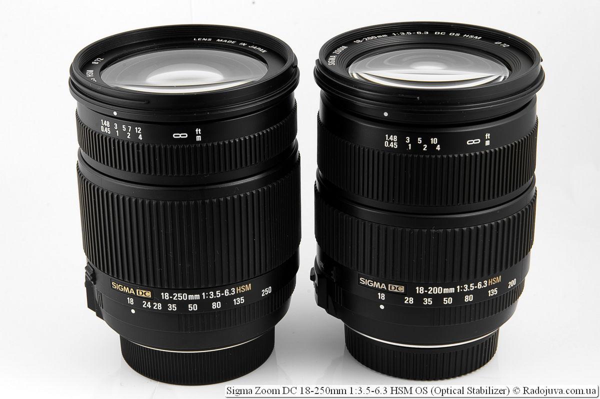 Sigma Zoom DC 18-250mm 1:3.5-6.3 HSM OS (Optical Stabilizer) и Sigma Zoom DC 18-200mm 1:3.5-6.3 HSM OS (Optical Stabilizer)
