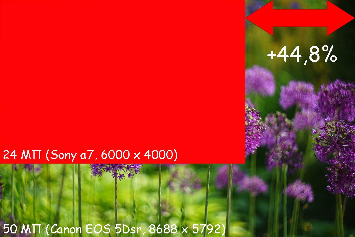 Реальное увеличение длины изображения составляет всего 45%