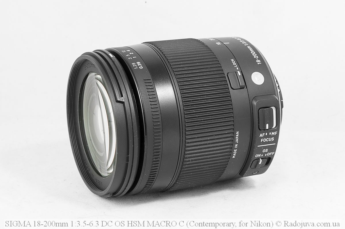 Вид объектива Sigma C 18-200mm F/3.5-6.3 DC HSM (Contemporary)