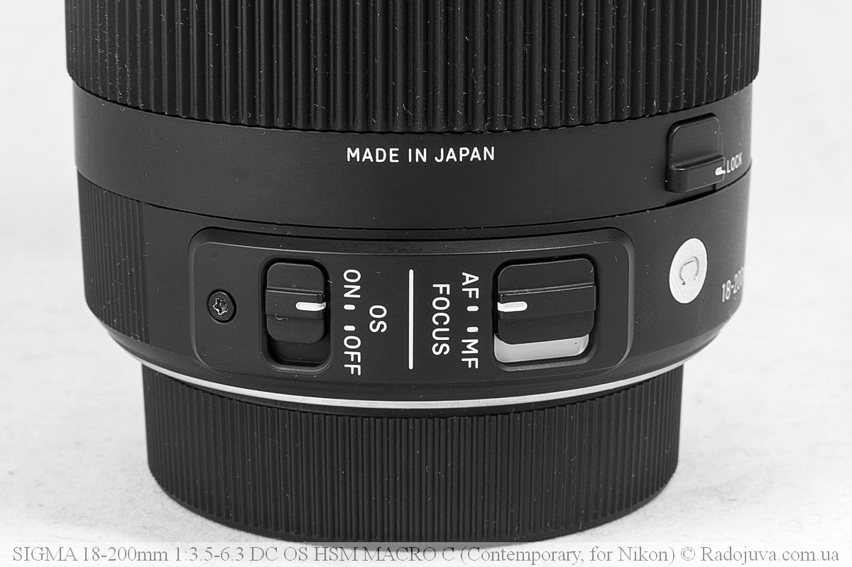 Метки объектива Sigma C 18-200mm F/3.5-6.3 DC HSM (Contemporary)