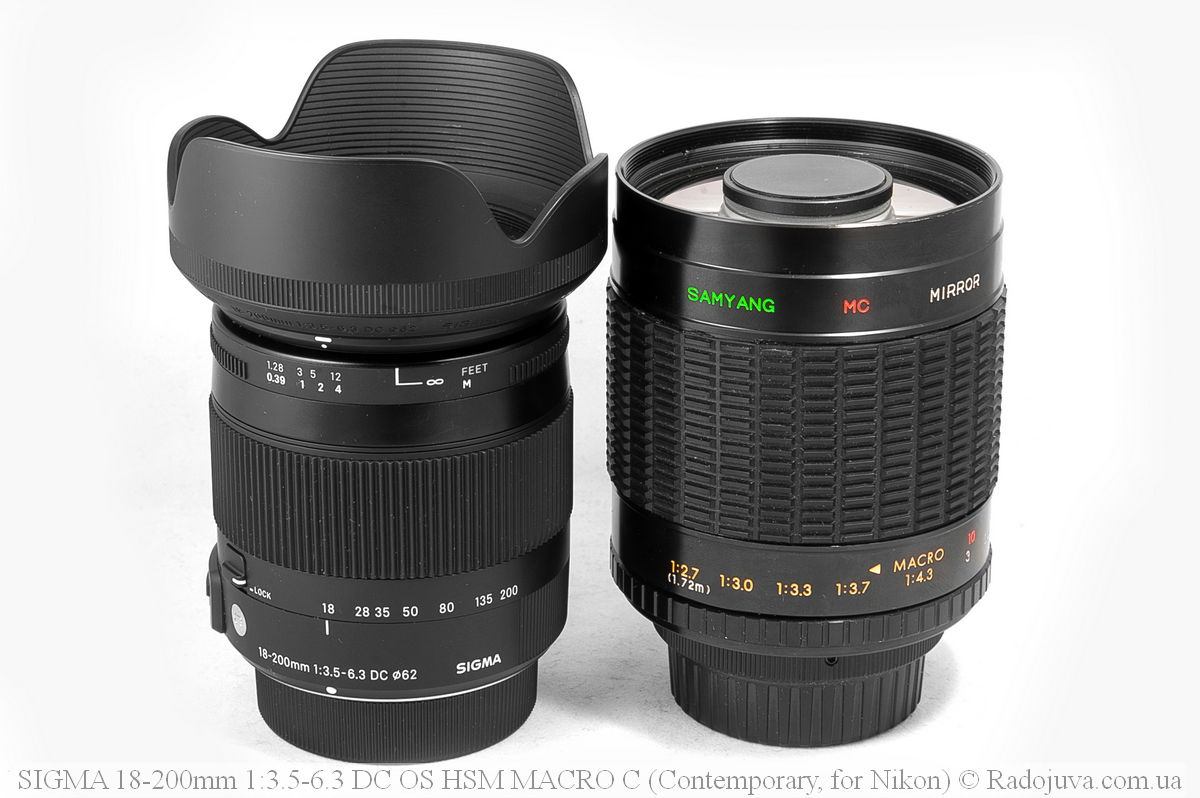 Sigma C 18-200mm F/3.5-6.3 DC HSM (Contemporary) и Samyang MC Mirror Lens 1:8.0 f=500mm