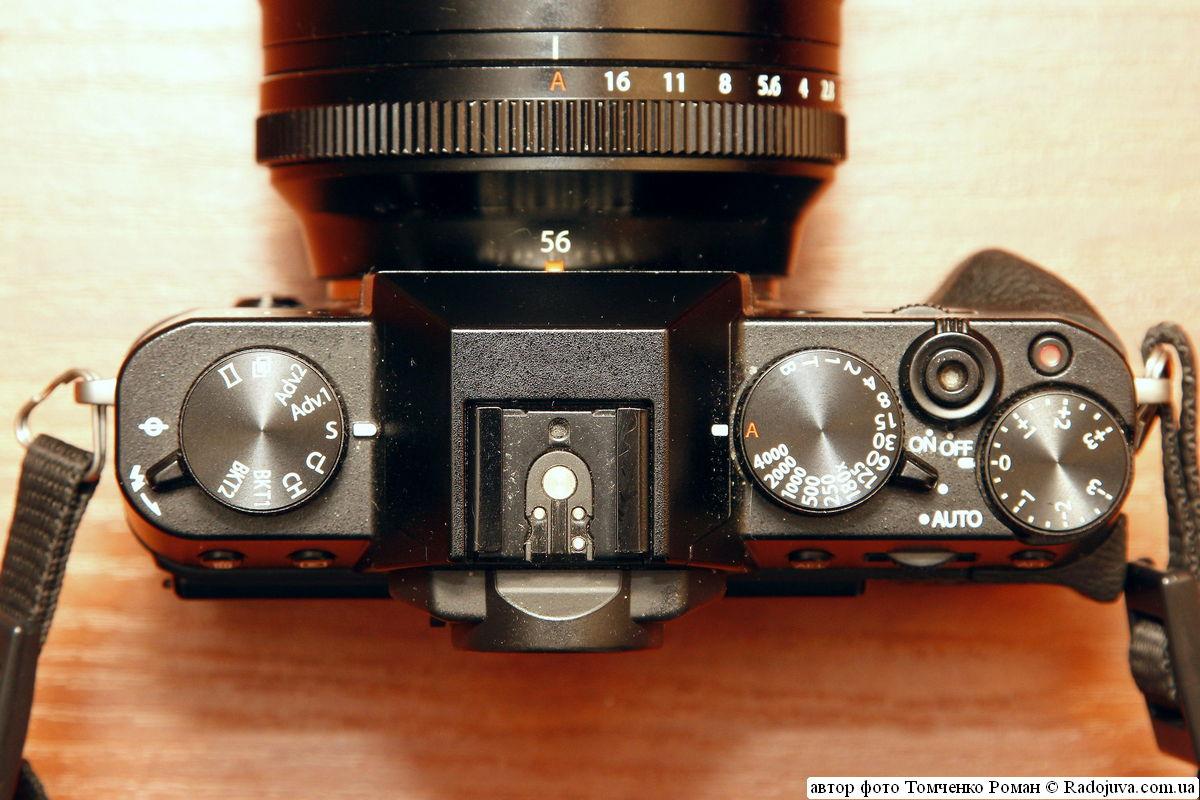 органы управления Fujifilm Finepix X-T10 (верхняя панель)