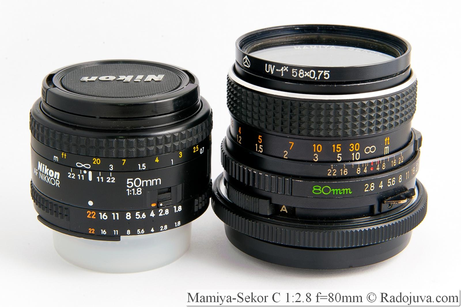 Размеры Nikon 50mm F/1.8 AF Mamyia-Sskor 80/2.8