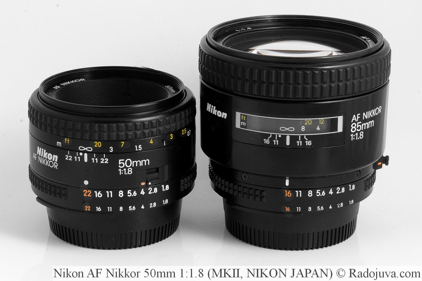 Nikon AF Nikkor 50mm 1: 1.8, MKII, NJ (NIKON JAPAN) and Nikon AF Nikkor 85mm 1: 1.8