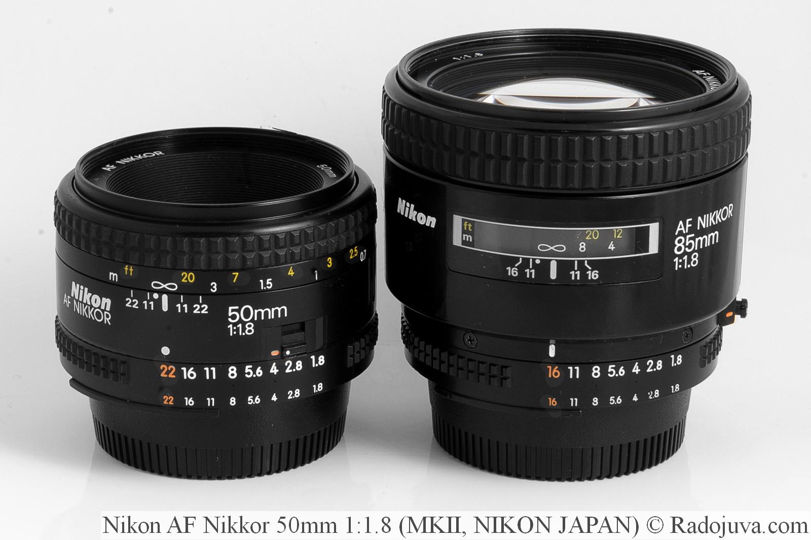 Nikon AF Nikkor 50mm 1:1.8, версия MKII, NJ (NIKON JAPAN) и Nikon AF Nikkor 85mm 1:1.8