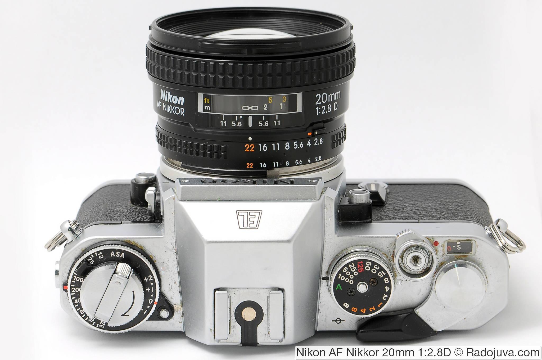 Nikon AF Nikkor 20mm 1: 2.8D on a film SLR camera