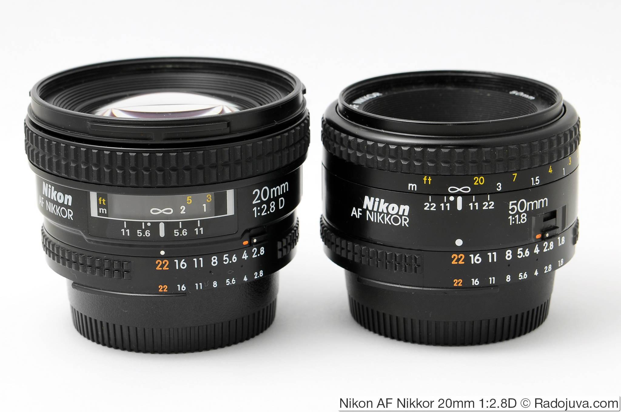Dimensions Nikon 20 / 2.8D and Nikon AF Nikkor 50mm 1: 1.8