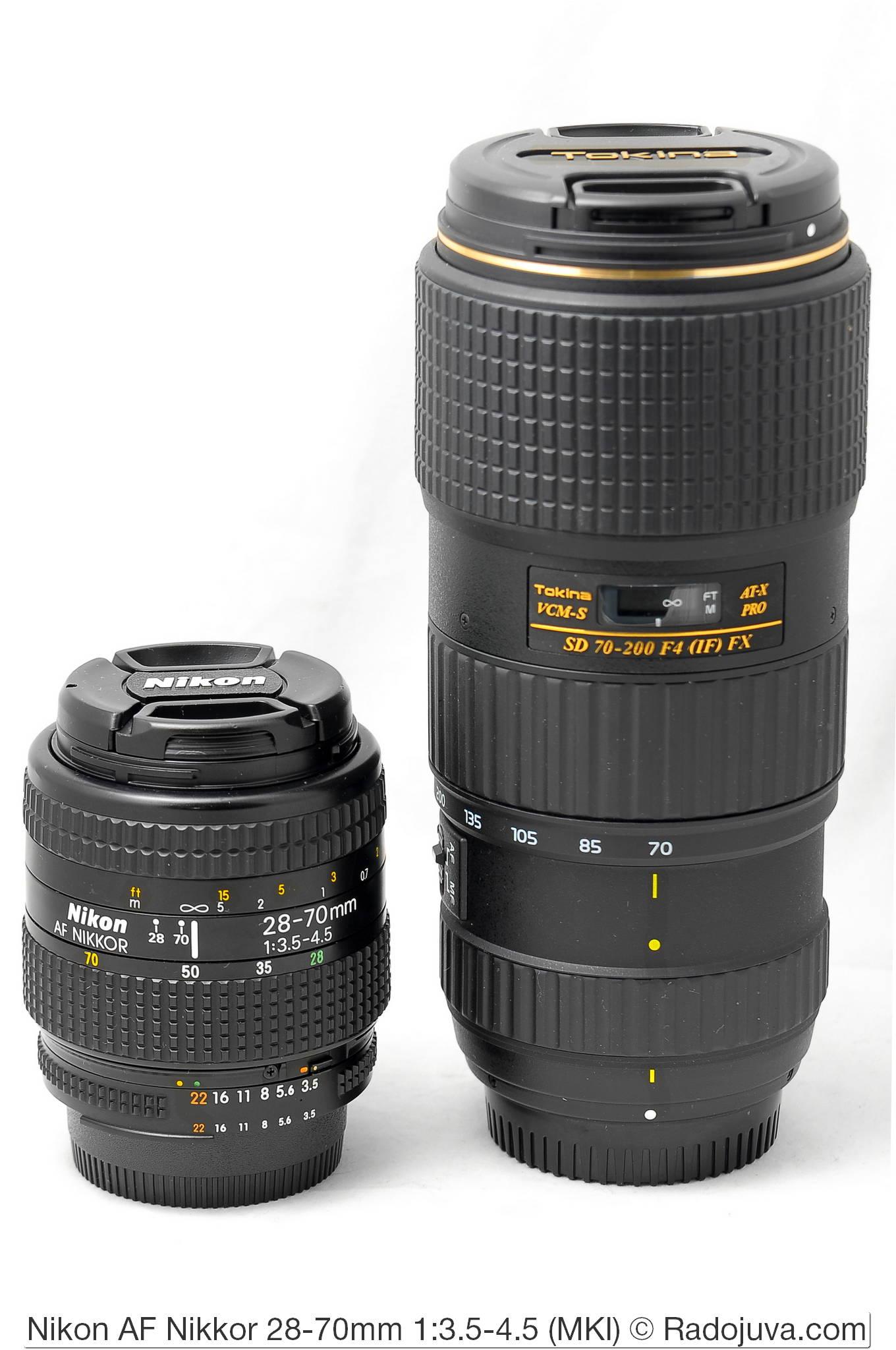 Объективы Nikon AF Nikkor 28-70mm 1:3.5-4.5 (MKI) и Tokina VCM-S AT-X PRO SD 70-200 F4 (IF) FX для набора фокусных расстояний 28-200 мм (набор юного фотографа)