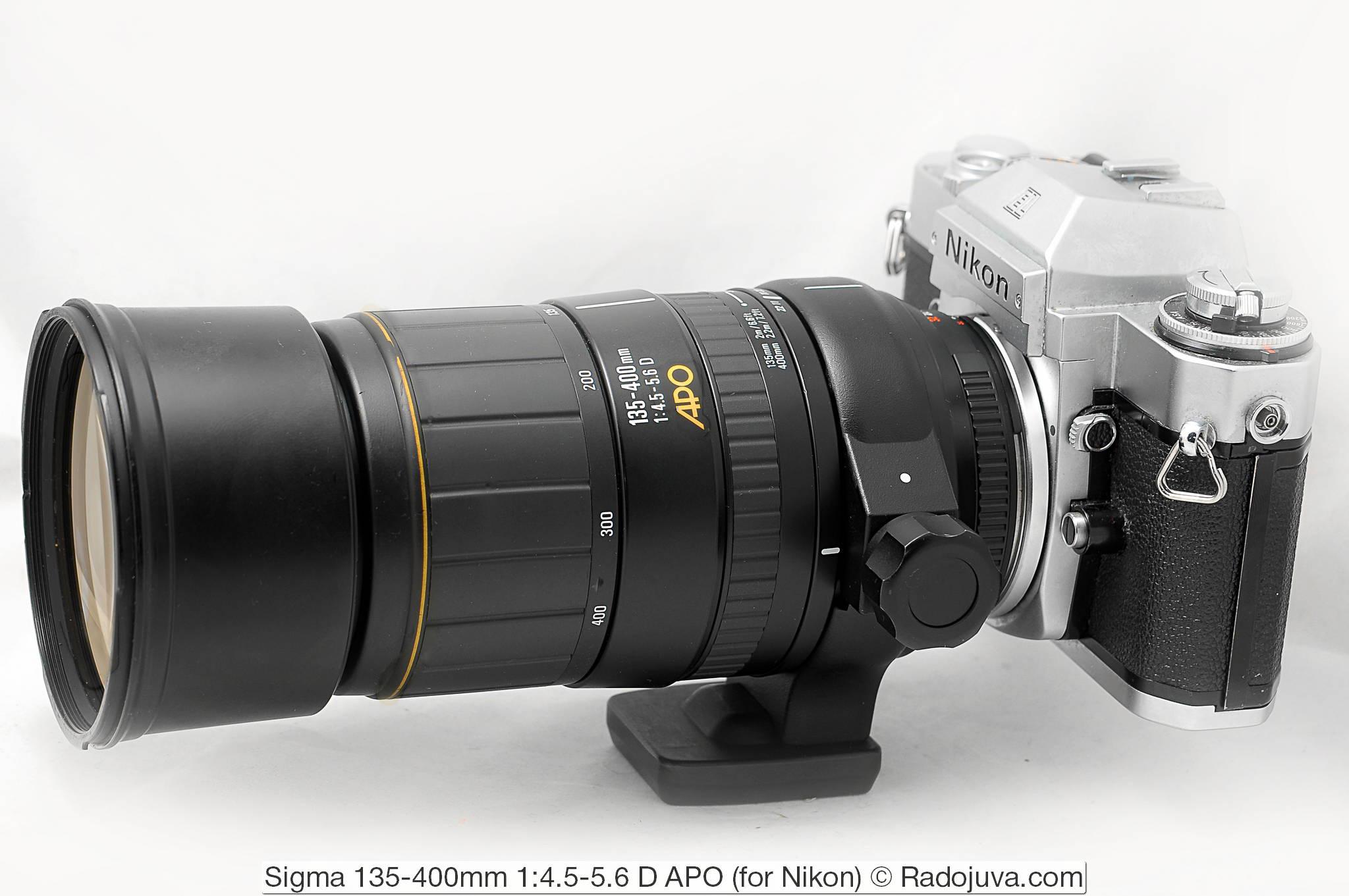 Sigma 135-400/4.5-5.6. Объектив показан на пленочной зеркальной камере