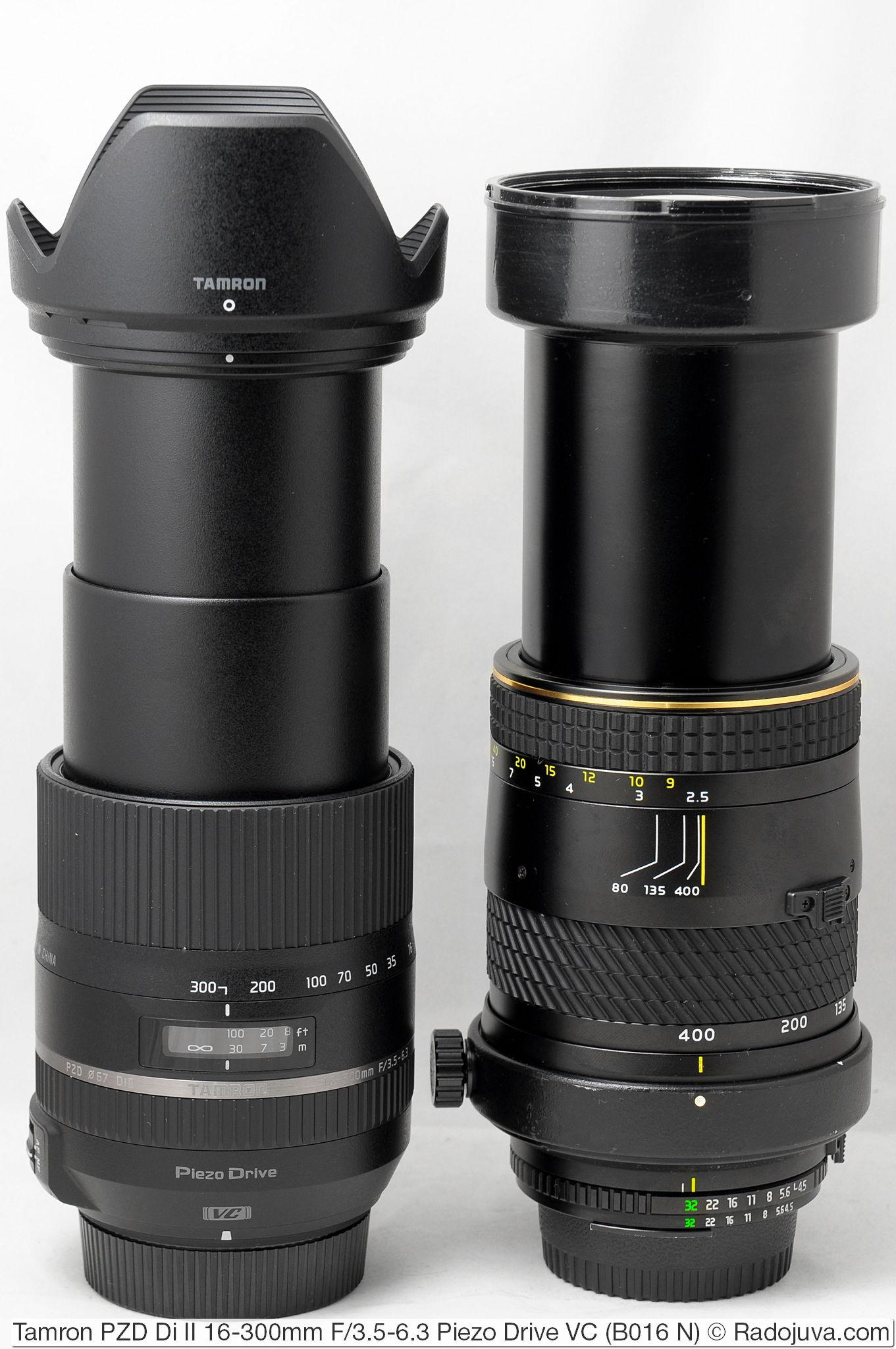 Размеры Tamron 16-300mm F/3.5-6.3 Di II PZD VC Model B016 и Tokina AT-X 80-400mm 1:4.5-5.6 (AT-X 840 AF-II)
