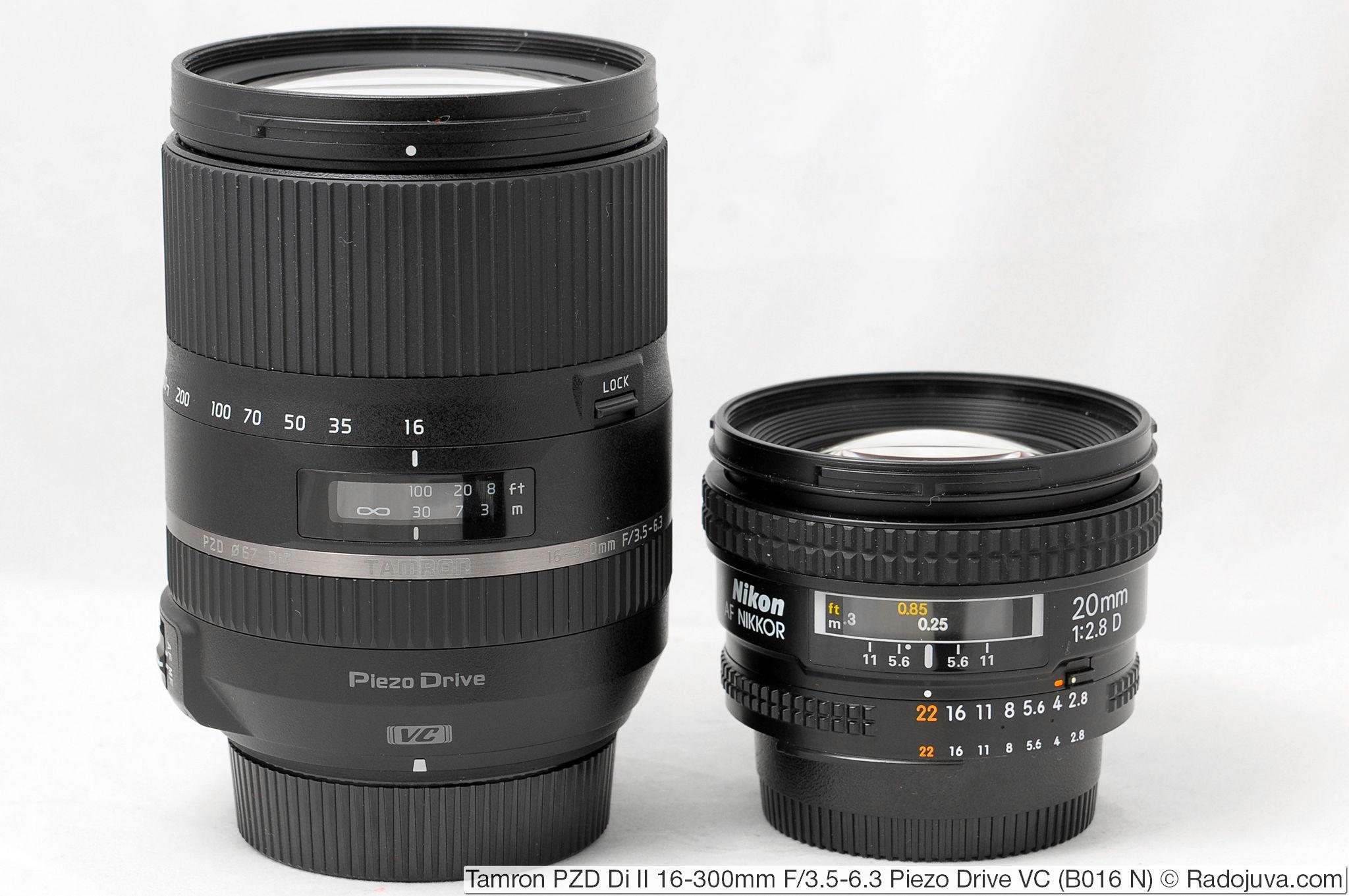 Tamron 16-300mm F/3.5-6.3 Di II PZD VC Model B016 и Nikon AF Nikkor 20mm 1:2.8D