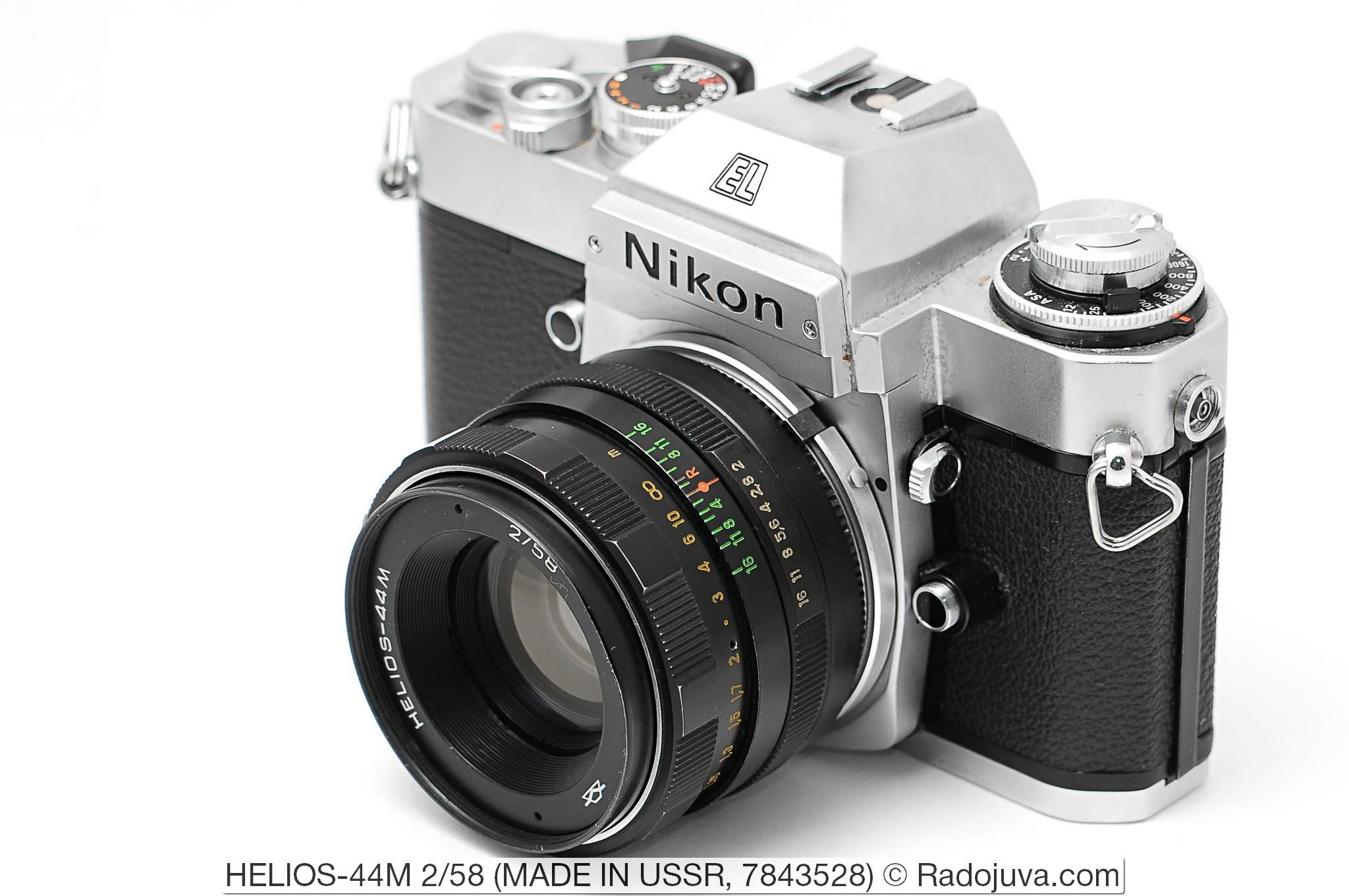 Обзор объектива HELIOS-44M 2/58 (КМЗ). Объектив показан на пленочной зеркальной камере Nikon EL2. Увеличить изображение. Установка объектива на фотоаппарат осуществлена с помощью переходника M42-Nikon F без чипа и линзы.
