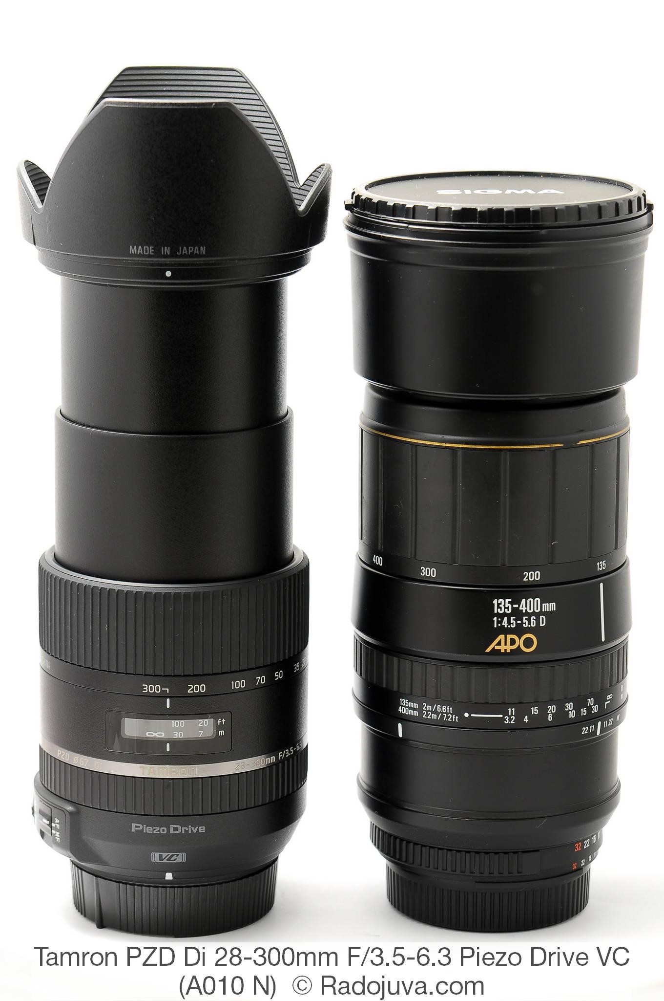 Размеры Tamron PZD Di 28-300mm F/3.5-6.3 Piezo Drive VC Model A010 и Sigma 135-400mm 1:4.5-5.6 D APO