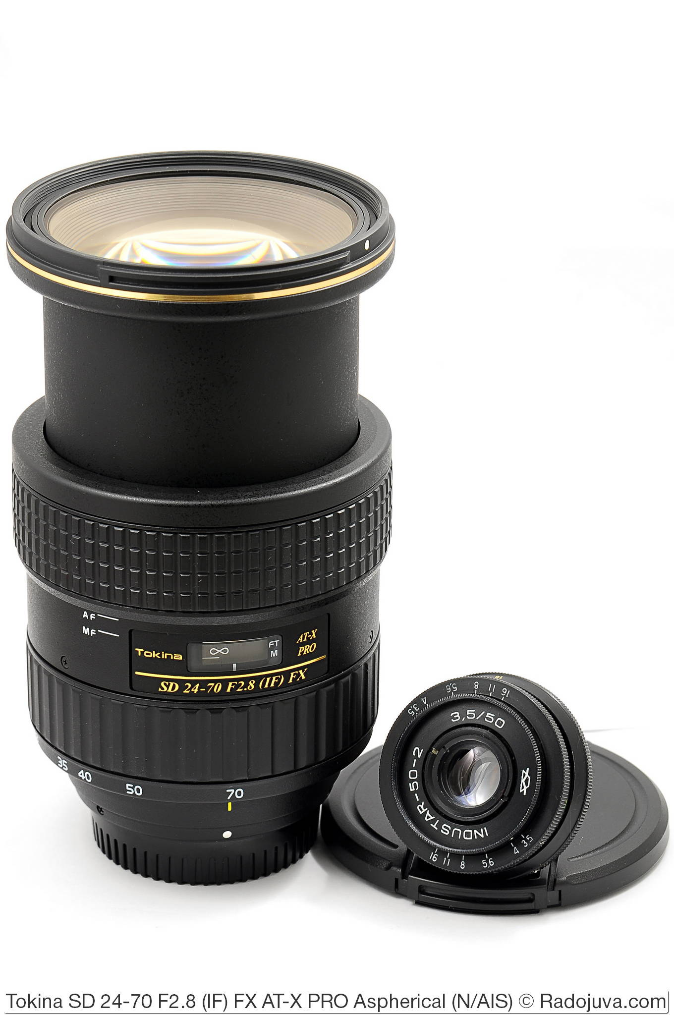 Размеры обеъктивов Tokina SD 24-70 F2.8 (IF) FX AT-X PRO Aspherical и Industar-50-2 3,5/50. Вместо одной Токины 24-70 можно купить 500 Индустаров 50/3.5.