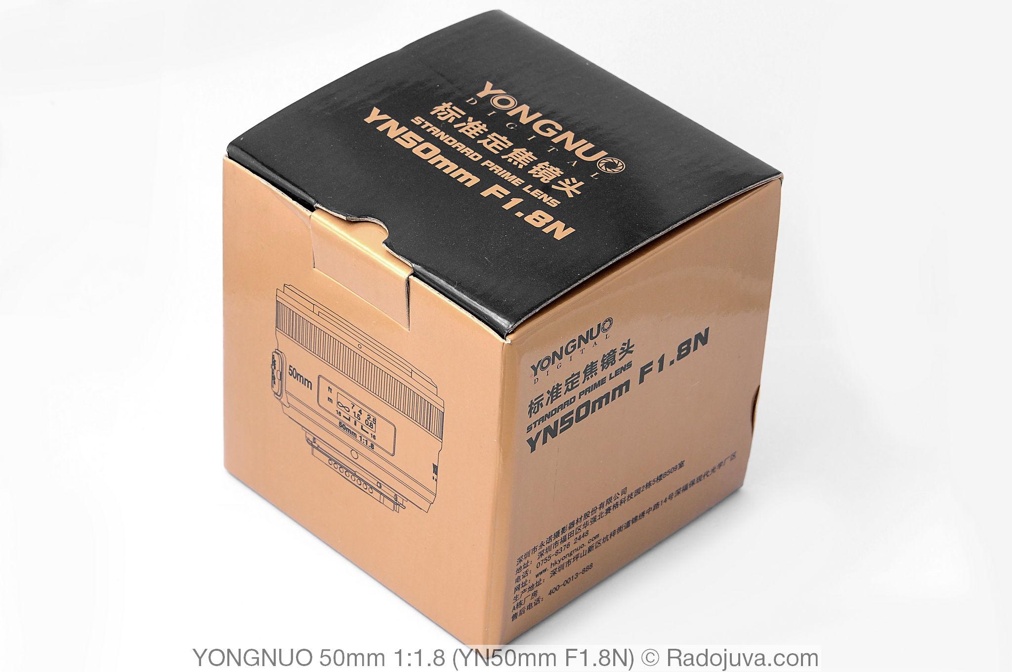Коробка объектива Yongnuo 50mm 1:1.8 (YN50mm F1.8N)