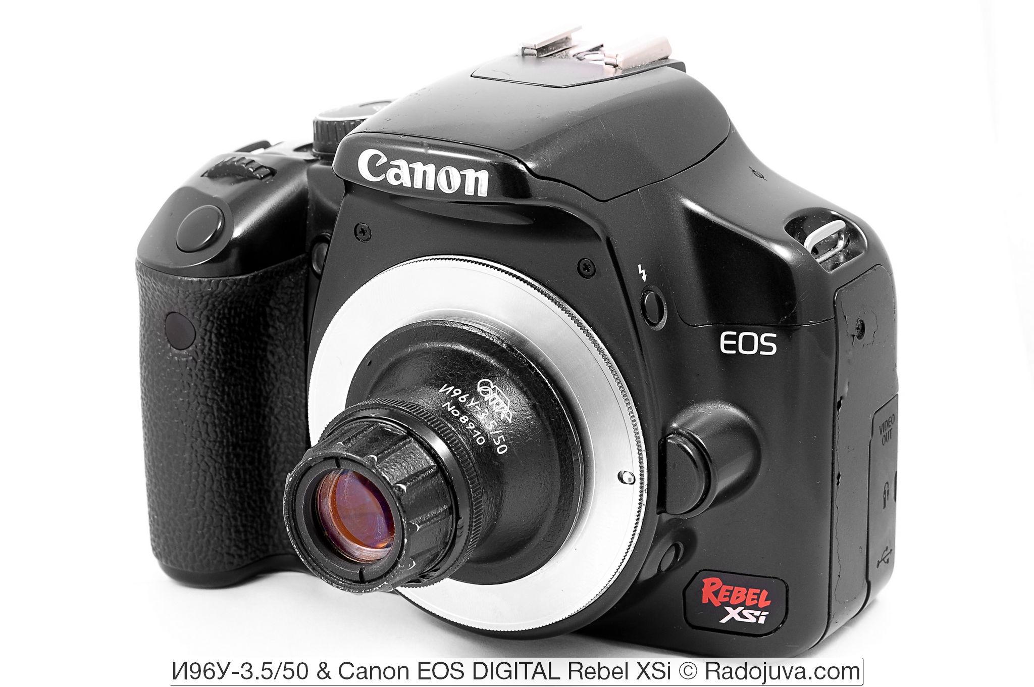 И96У-3.5/50, объектив показан на камере Canon EOS DIGITAL Rebel XSi. Установлен с помощью переходников M42-Canon EOS и M39-M42.